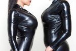 Free porn pics of Latex lesbians Luna Star and Nina Elle posing in latex bodysuits 1 of 16 pics